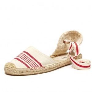 Soludos Ankle Tie Espadrille Sandals in Red Ivory